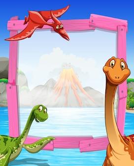Rahmendesign mit dinosauriern am see