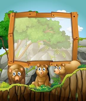 Rahmendesign mit drei bären an der höhle