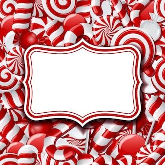 Rahmenetiketten auf süßem hintergrund mit verschiedenen roten und weißen bonbons. illustration