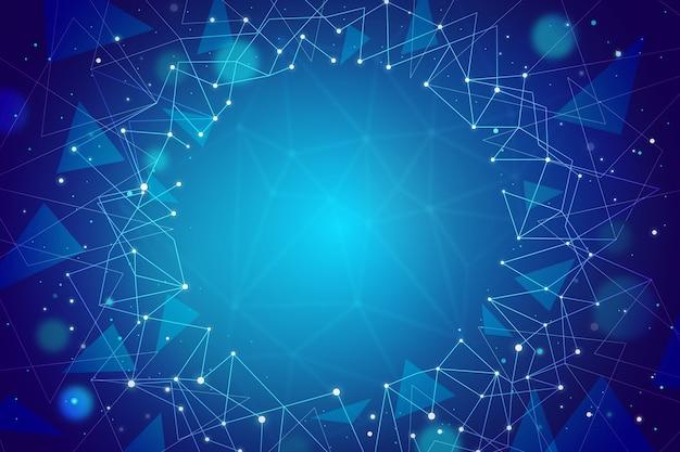 Rahmenhintergrund der blauen partikel der technologie