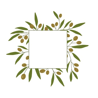 Rahmenhintergrund mit olivenzweigen