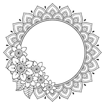 Rahmenmandala mit blume, mehndi. dekorative verzierung im ethnischen stil.