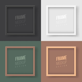 Rahmenmodell. flache vektorgrafik. eine sammlung einfacher eleganter rahmen für ihr design. vier quadratische rahmen in monochrom für gemälde, fotografien oder zertifikate im corporate style.