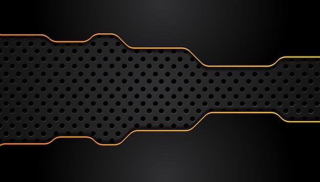 Rahmenplan-technologieinnovations-konzepthintergrund des orange gelbs und des schwarzen abstrakter metallischer