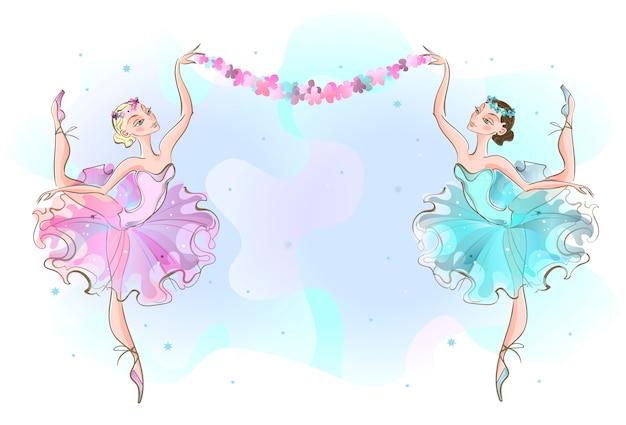 Rahmenpostkarte mit zwei tänzerinnen.