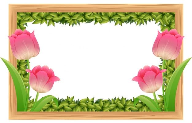 Rahmenschablone mit rosa tulpenblumen