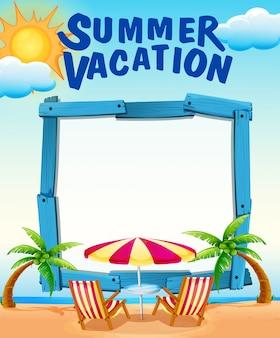 Rahmenschablone mit sommerferien auf dem strand