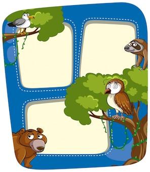 Rahmenschablone mit wilden tieren im wald