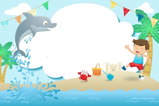 Rahmenschablonen-karikatur, ein junge, der im strand mit niedlichem delphin spielt