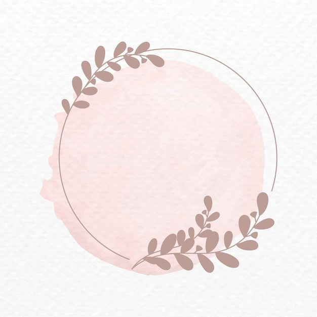 Rahmenvektor im rosa botanischen ornament-aquarell-stil