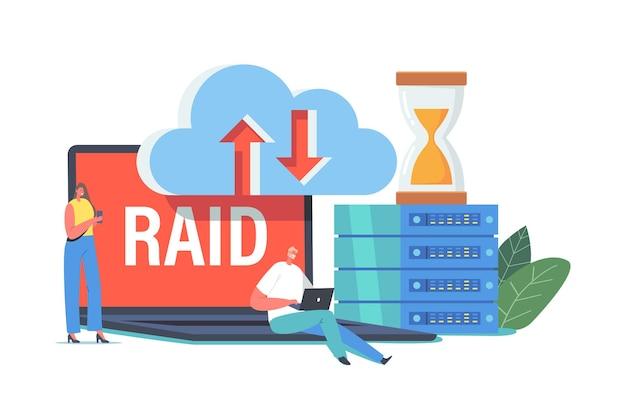 Raid-datenspeicherung im rechenzentrum, winzige zeichen im riesigen pc-block, sanduhr, virtuelle cloud. innovatives hosting-server-system für programmierung und forschungsanalyse. cartoon-menschen-vektor-illustration