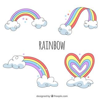 Rainbows sammlung mit verschiedenen formen in flachen syle