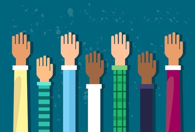 Raised up hands diversity-konzept