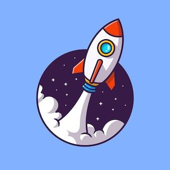 Rakete, die cartoon-illustration startet. flacher cartoon-stil
