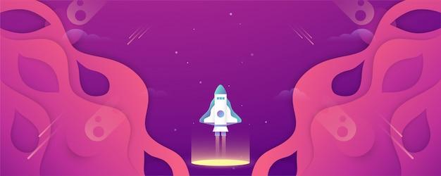 Rakete fliegt im galaxienraum des universums.