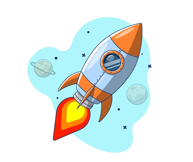 Rakete fliegt in den weltraum am planeten vorbei