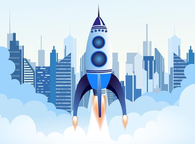 Rakete fliegt über wolken auf großer moderner stadt