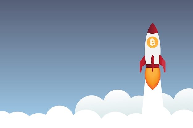 Rakete fliegt über wolken mit bitcoin-symbol