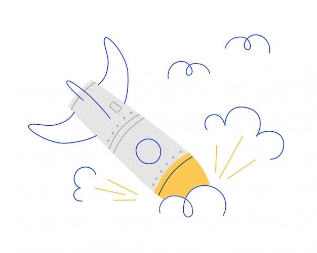 Rakete gebrochen. die explosion des raumfahrzeugs. symbol für site-fehler, erfolgloser start, geschäftsfehler, negatives szenario. illustration