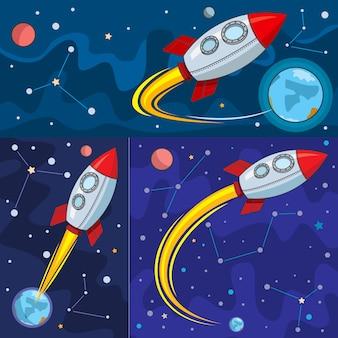 Rakete im raum, satz von 3 farbkarikaturillustrationen. rakete im flug vor dem hintergrund des planeten erde, im dunklen himmel sterne, planeten, sternbilder