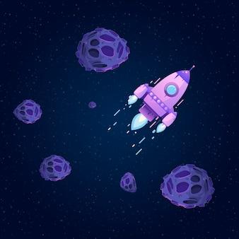 Rakete im weltraum zwischen sternen und asteroiden. fliegende kometen