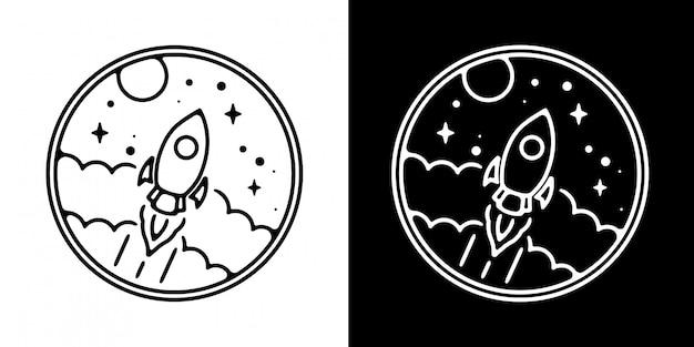 Rakete in der wolke monoline abzeichen design
