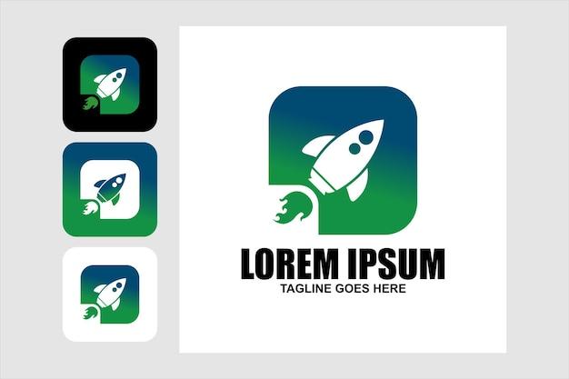 Rakete-logo. buntes low-poly-raketen-logo-design