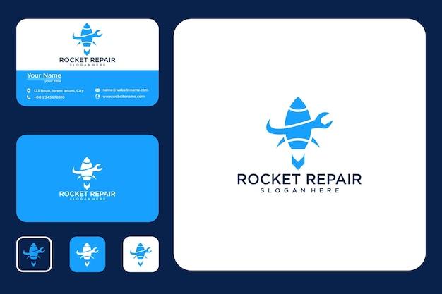 Rakete logo-design und visitenkarte reparieren