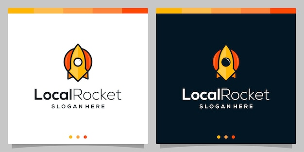 Rakete-logo-symbol-vektor-vorlage und standort-logo-symbol in farbe