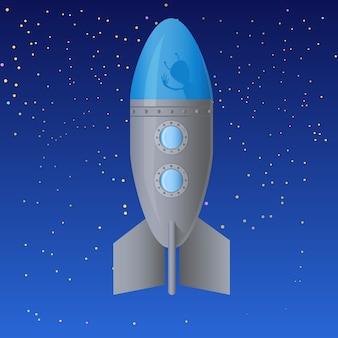 Rakete mit alien im weltraum. karikaturillustration vektor-illustration auf lager