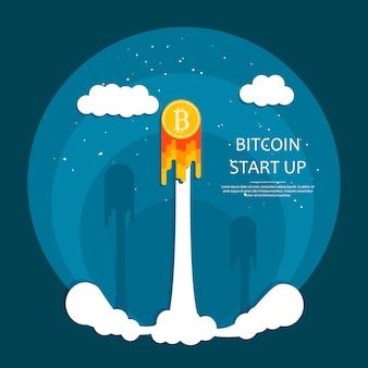 Rakete mit bitcoin raumschiff mit kryptowährung starten