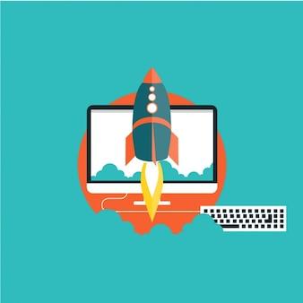 Rakete mit einem computer im hintergrund