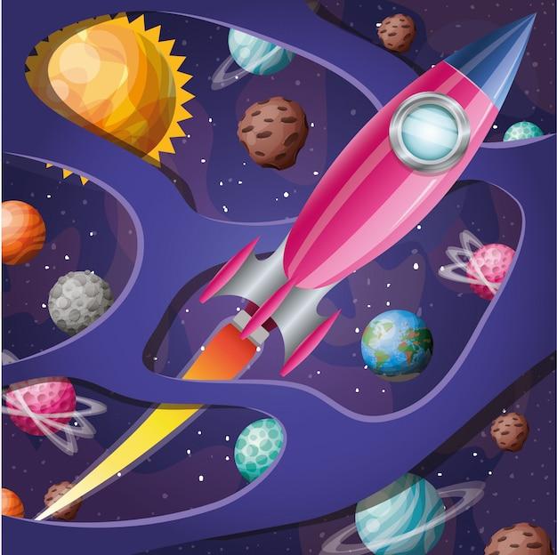 Rakete mit flamme und planeten
