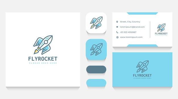 Rakete mit flügel-logo-vorlage und visitenkarte