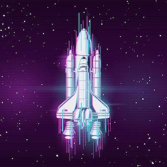 Rakete mit glitch-effekt