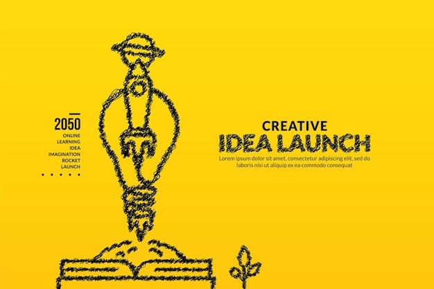 Rakete mit glühbirne startet aus dem buchhintergrund kreative ideen starten konzept