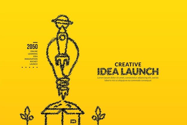 Rakete mit glühbirne startet aus dem karton hintergrund kreative ideen starten konzept