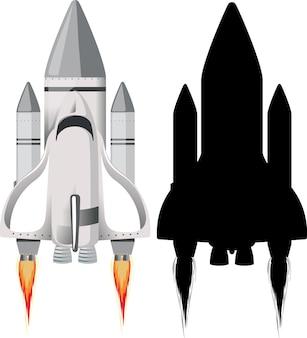 Rakete mit ihrer silhouette auf weiß