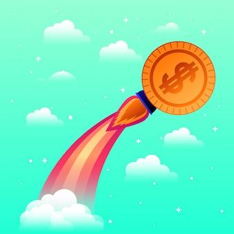 Rakete mit münze starten
