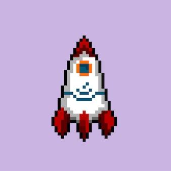 Rakete mit pixel-art-stil