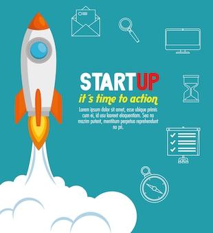 Rakete mit start-up-business-icons