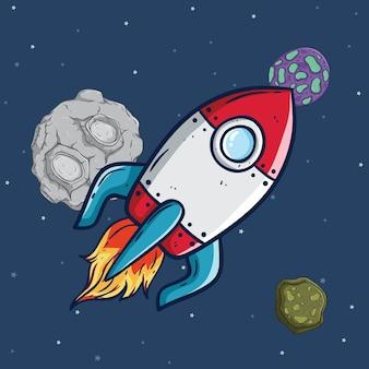Rakete oder raumschiff fliegen im weltraum mit stern und meteorit