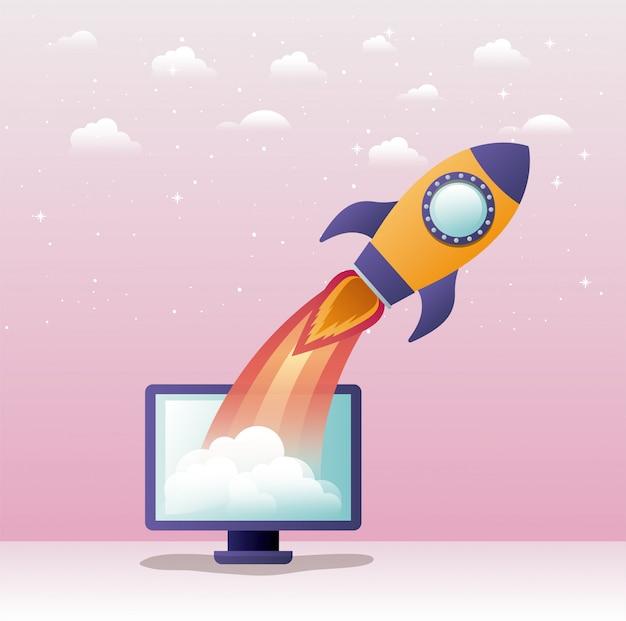 Rakete starten mit desktop-computer