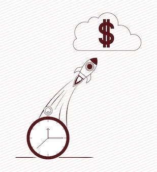 Rakete starten mit geldsymbol