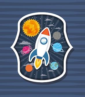 Rakete über etikett mit planeten
