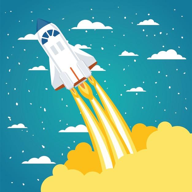 Rakete über wolken und zeigte