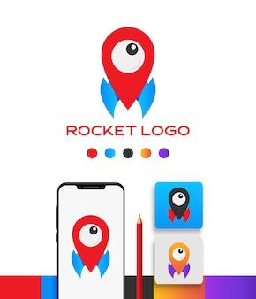 Rakete und monster eye logo vorlage app icon pack im farbverlauf