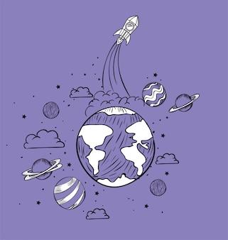 Rakete und planet zeichnen