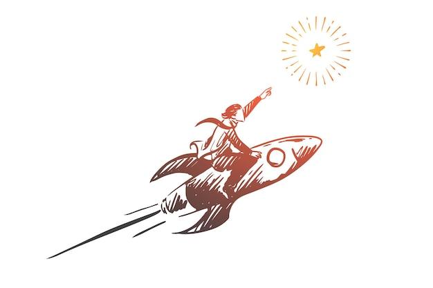 Rakete, ziel, geschäft, start, erfolgskonzept. hand gezeichneter geschäftsmann auf der raketenkonzeptskizze.