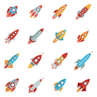 Raketen icons set